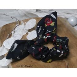 Foulchie noir motif roses